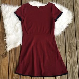 J Crew Tipped Point Burgundy Fit and Flare Dress